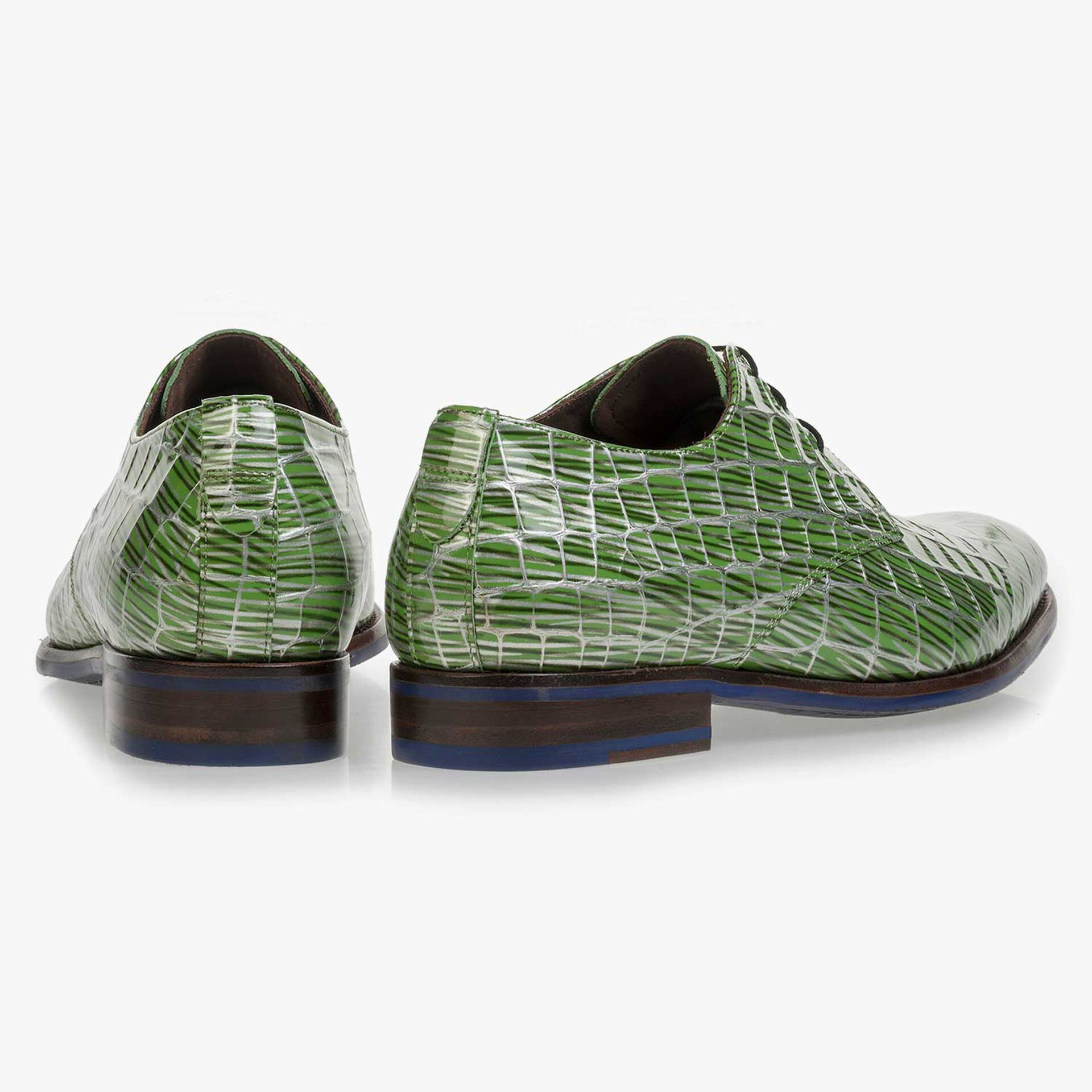 Green patent leather lace shoe with print