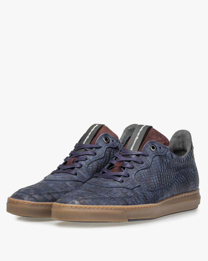 Sneaker reptielenprint blauw