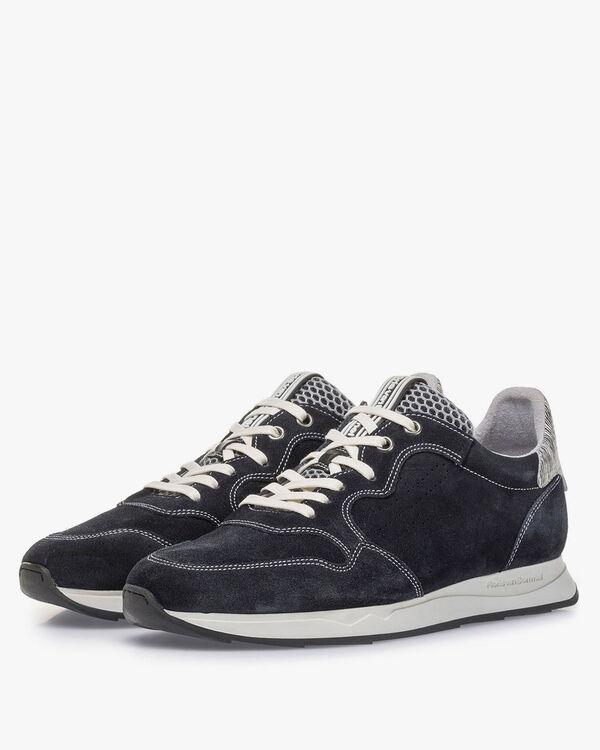 Blauwe suède sneaker