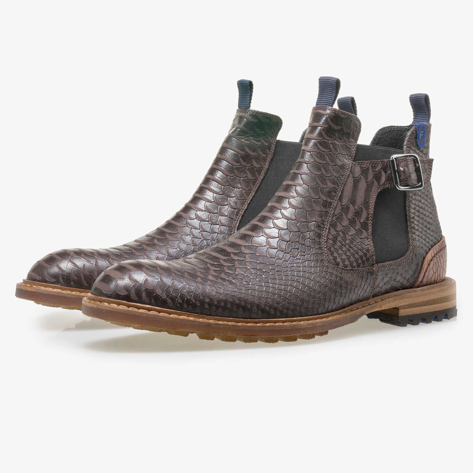 Floris van Bommel men's dark brown leather Chelsea boot
