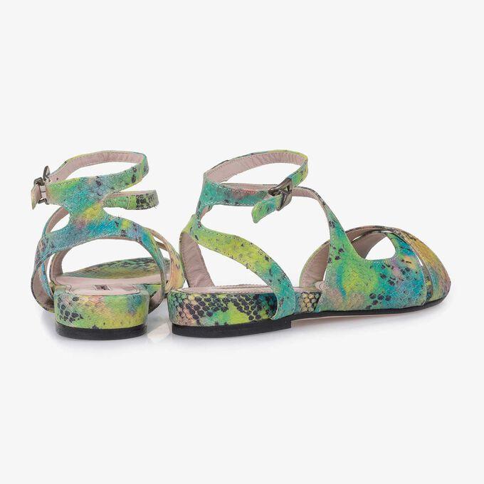 Groene leren sandaal met snakeprint