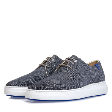 Leather lace-up shoe with print