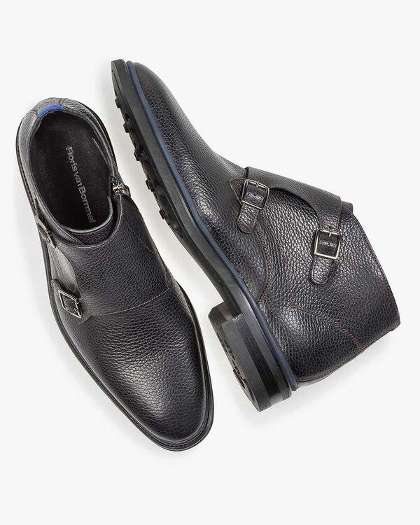 Zwarte kalfsleren gespschoen met print