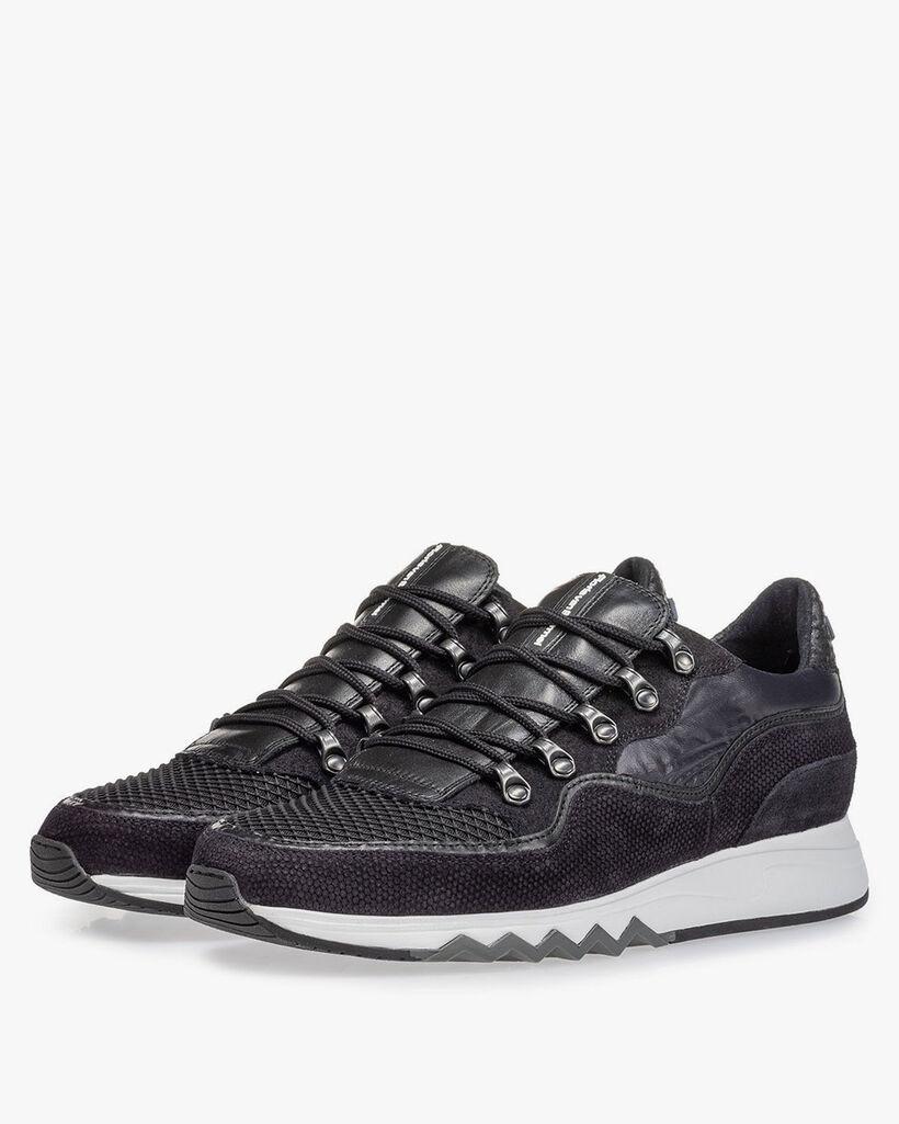 Sneaker zwart suède