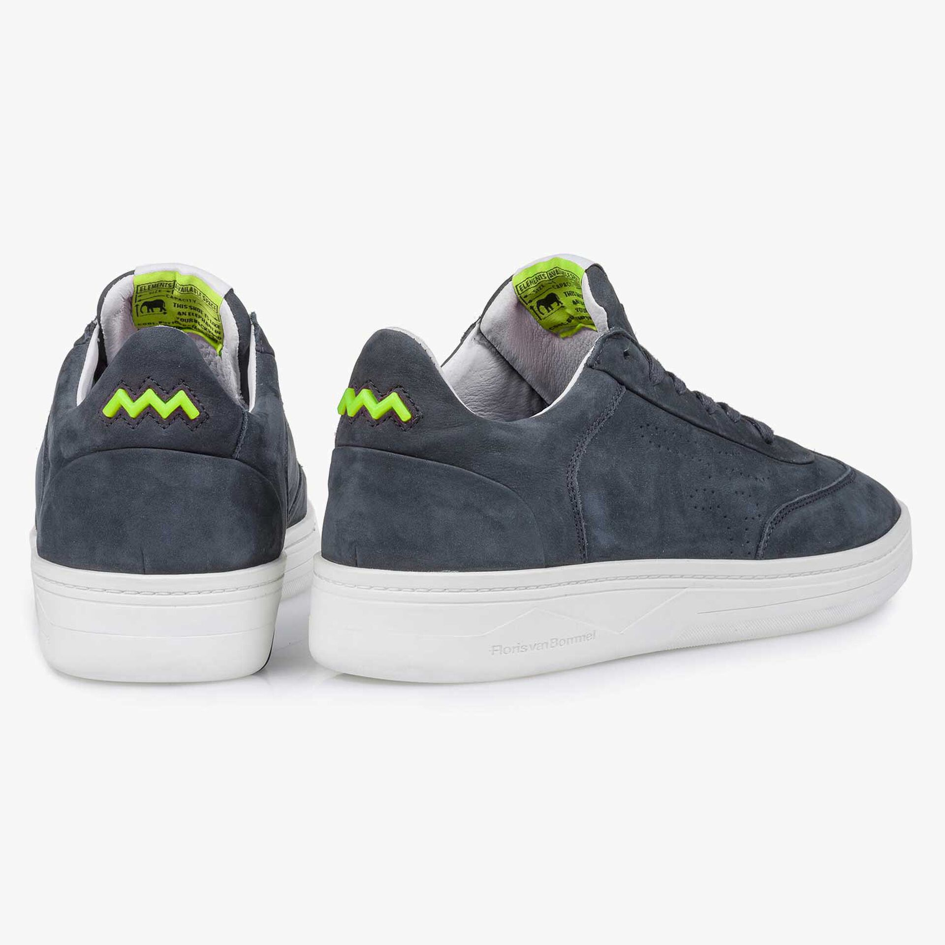 Blauwe nubuckleren sneaker