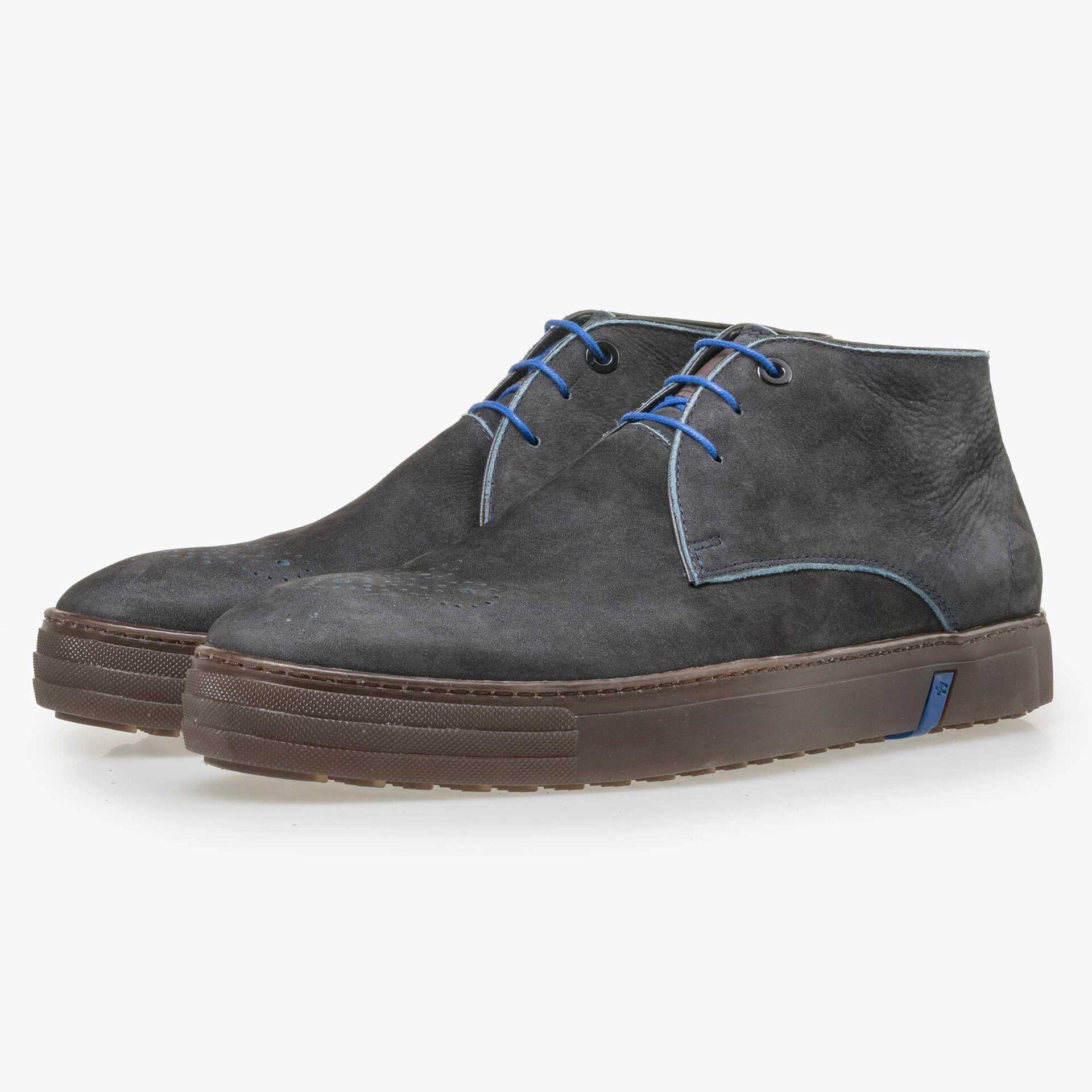 Floris van Bommel blue nubuck leather lace boot