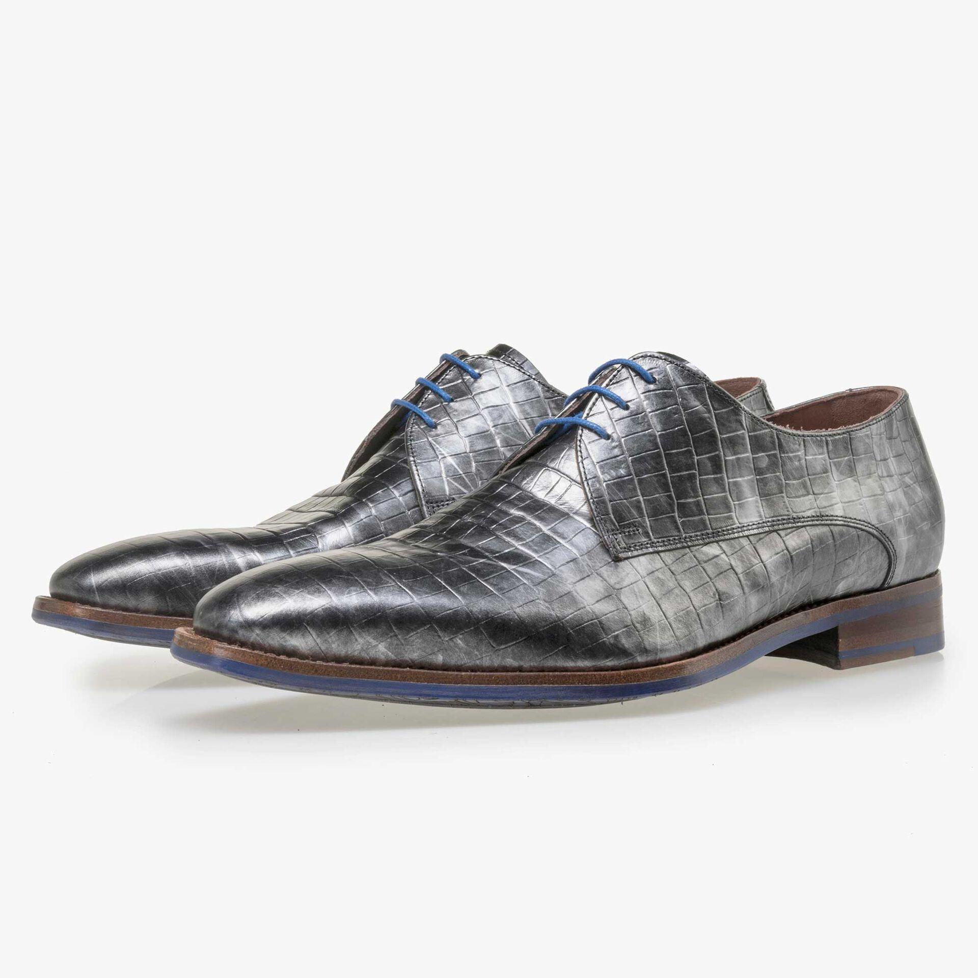 Floris van Bommel Premium men's grey leather lace shoes with a metallic look