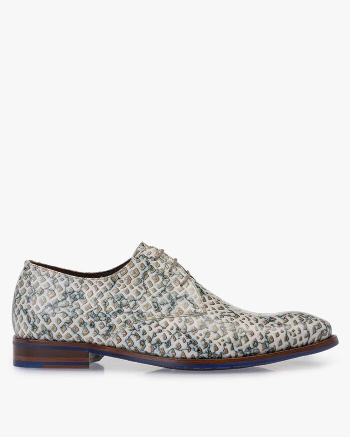 Lace shoe printed leather sand-coloured