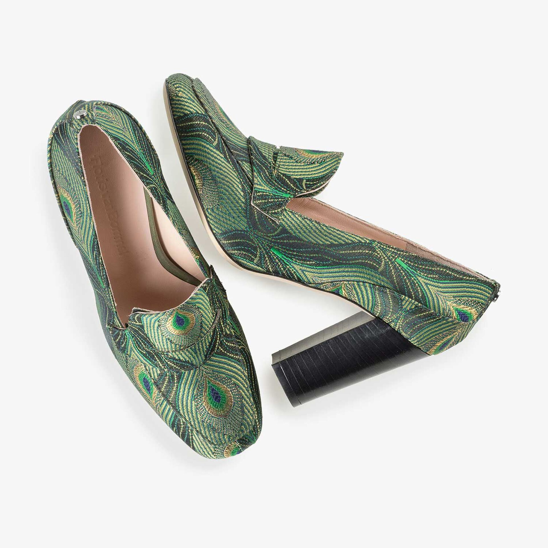 High heels with green peacock print