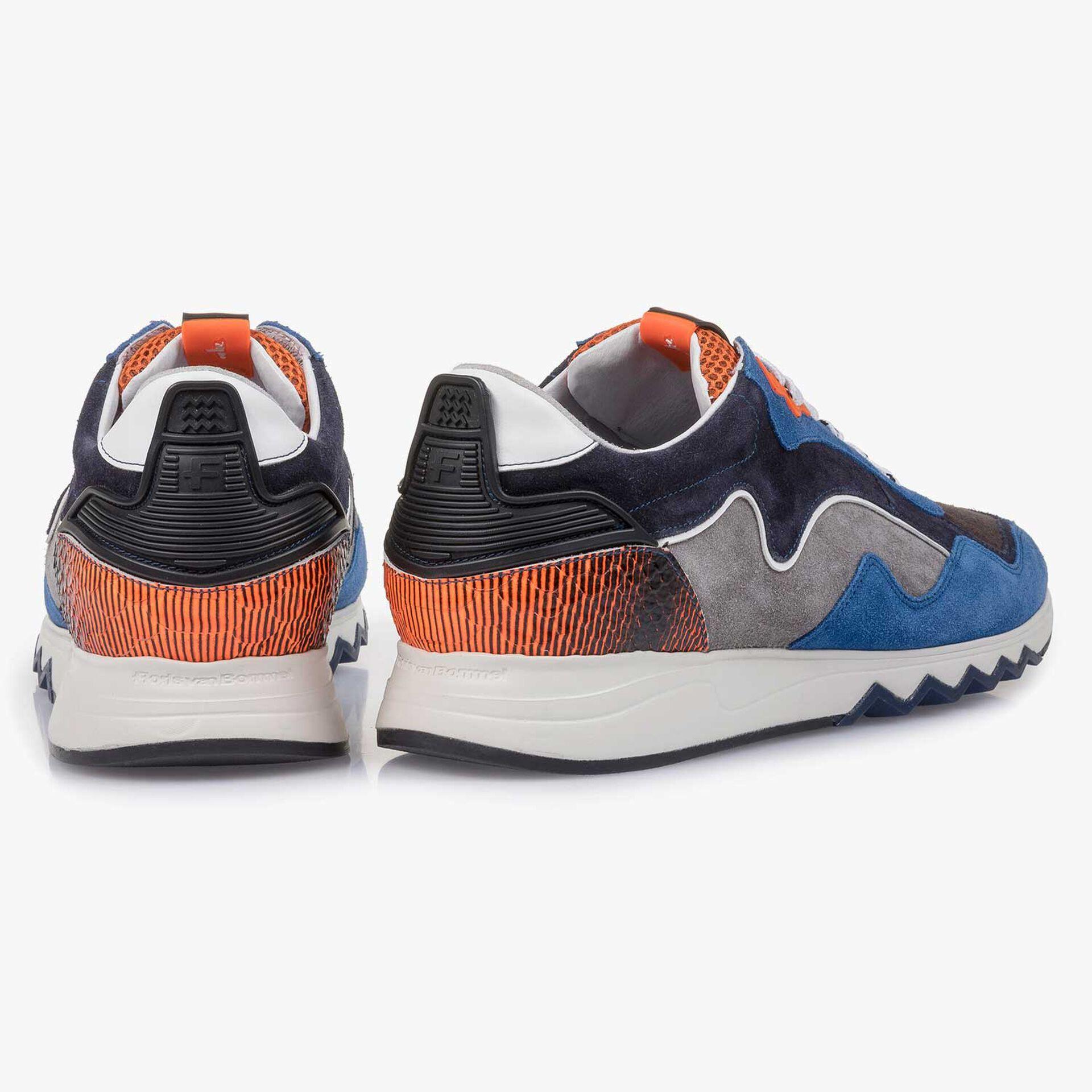Suède sneaker blauw/oranje