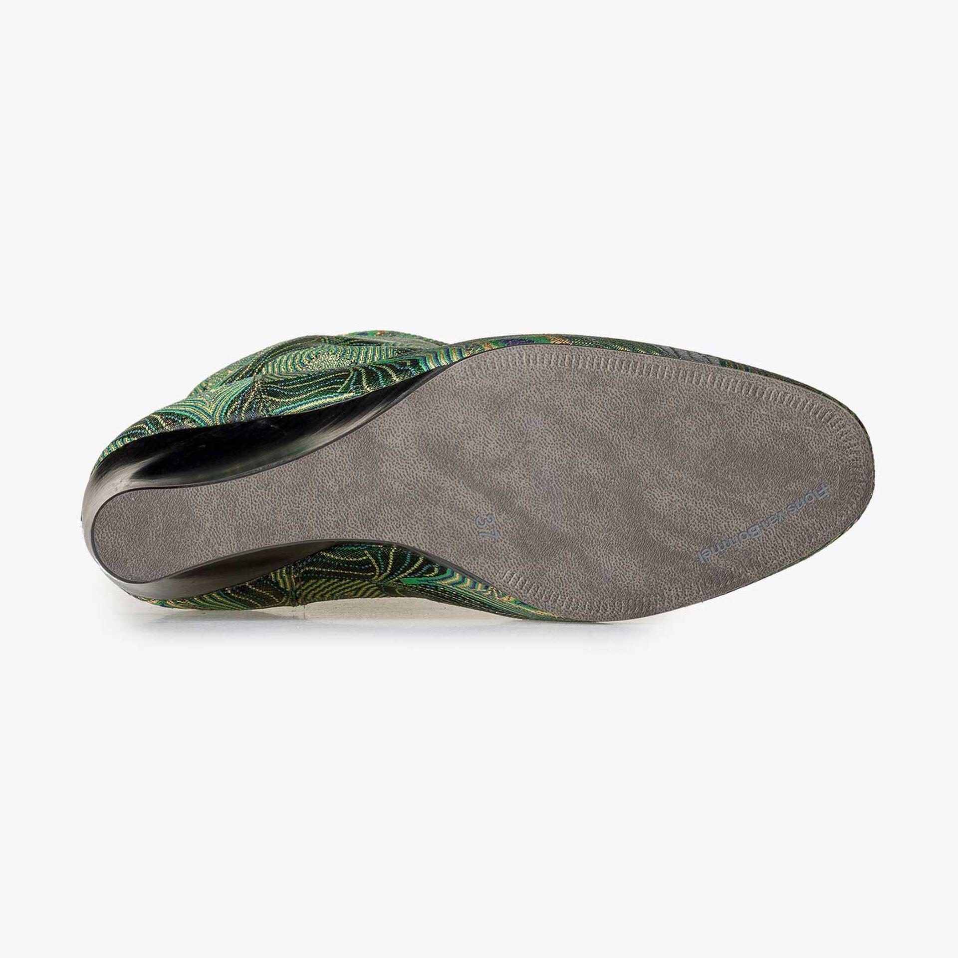 Halfhoge laars met groene pauwenprint