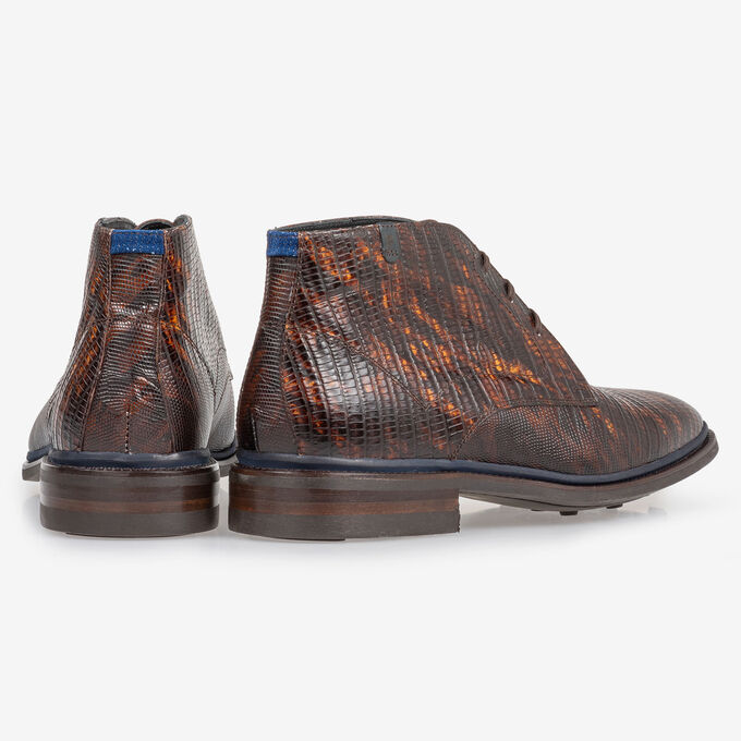 Lace boot lizard print cognac