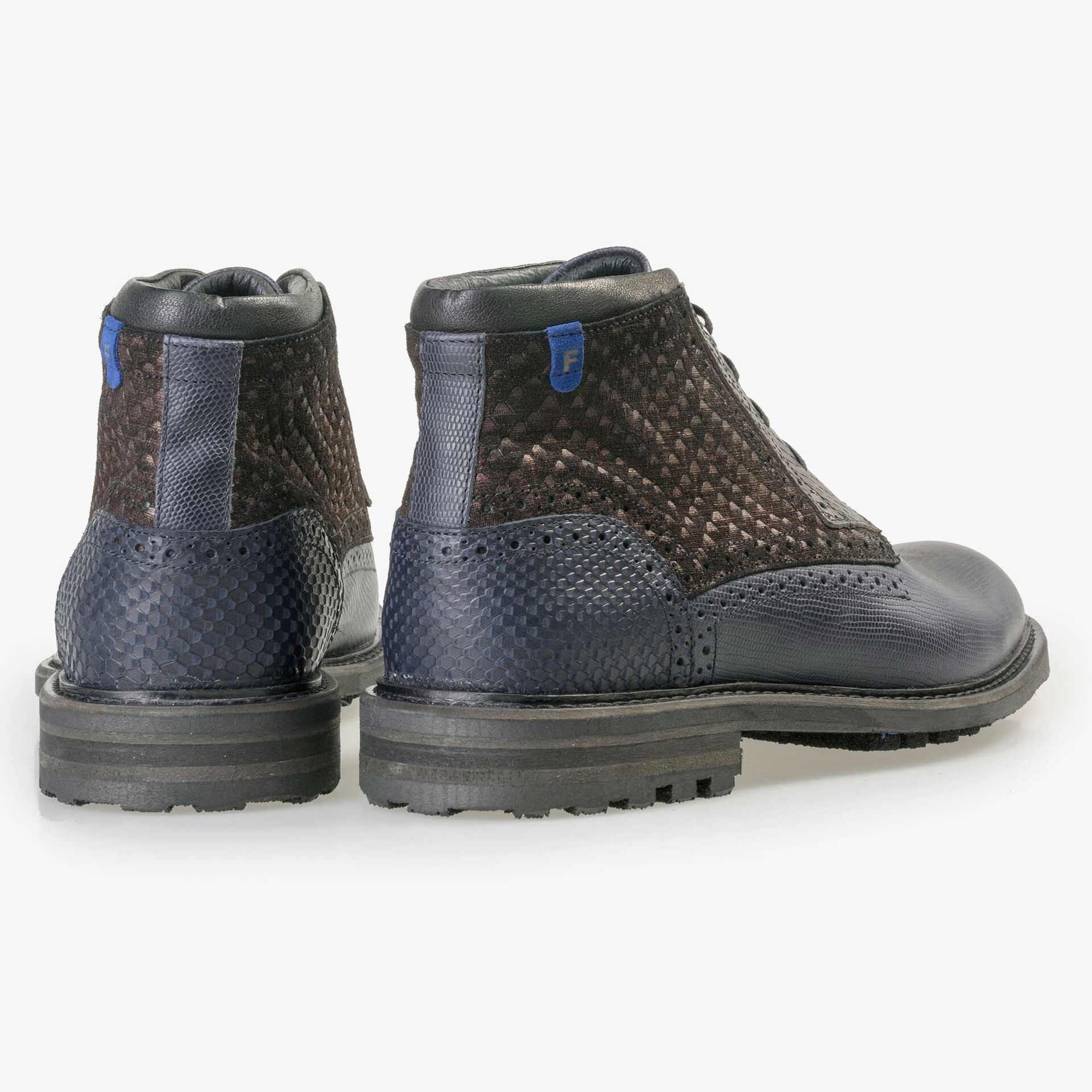 Floris van Bommel men's dark blue leather lace boot finished with a snake print