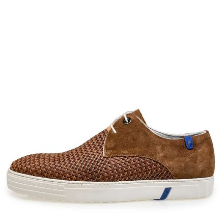 Braided calf suede leather lace shoe