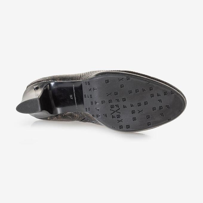 Enkellaars crocoprint koper