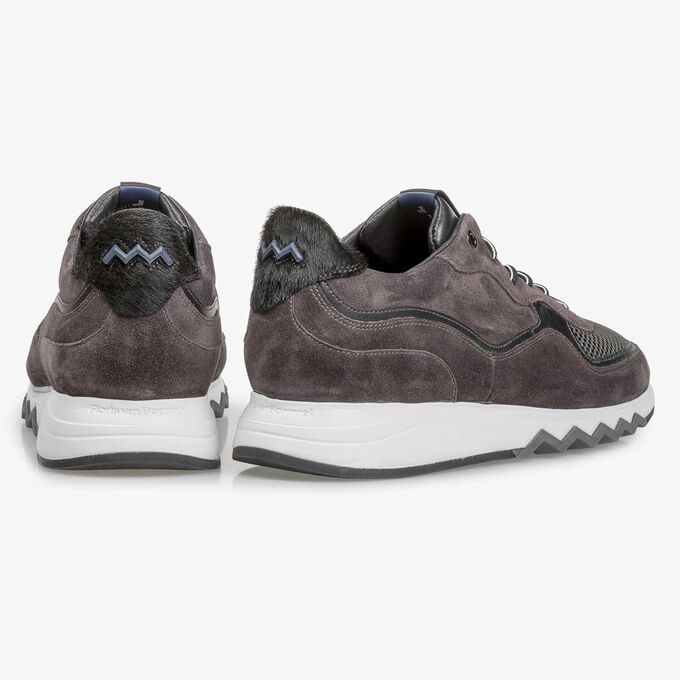 Anthracite and brown suede leather sneaker