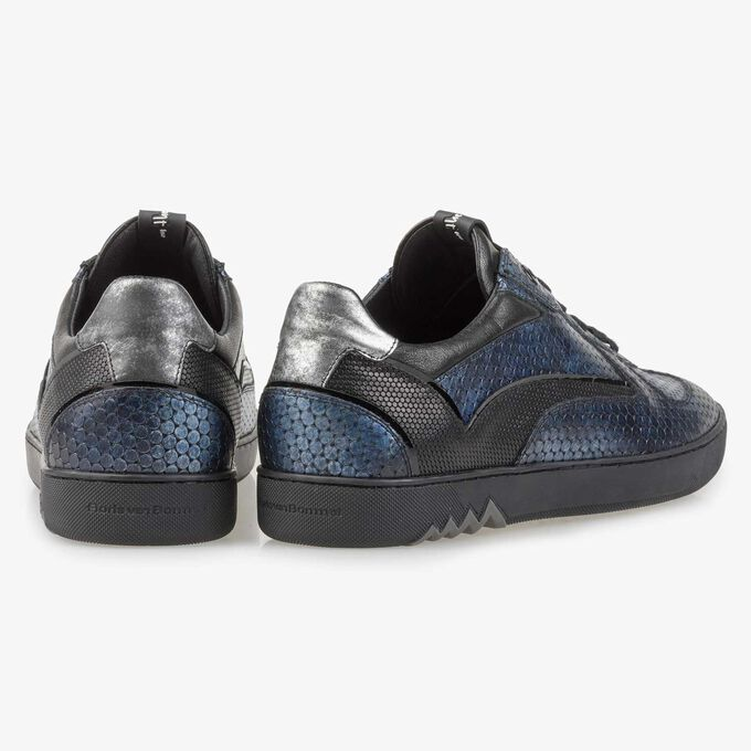 Blauwe metallic print leren sneaker
