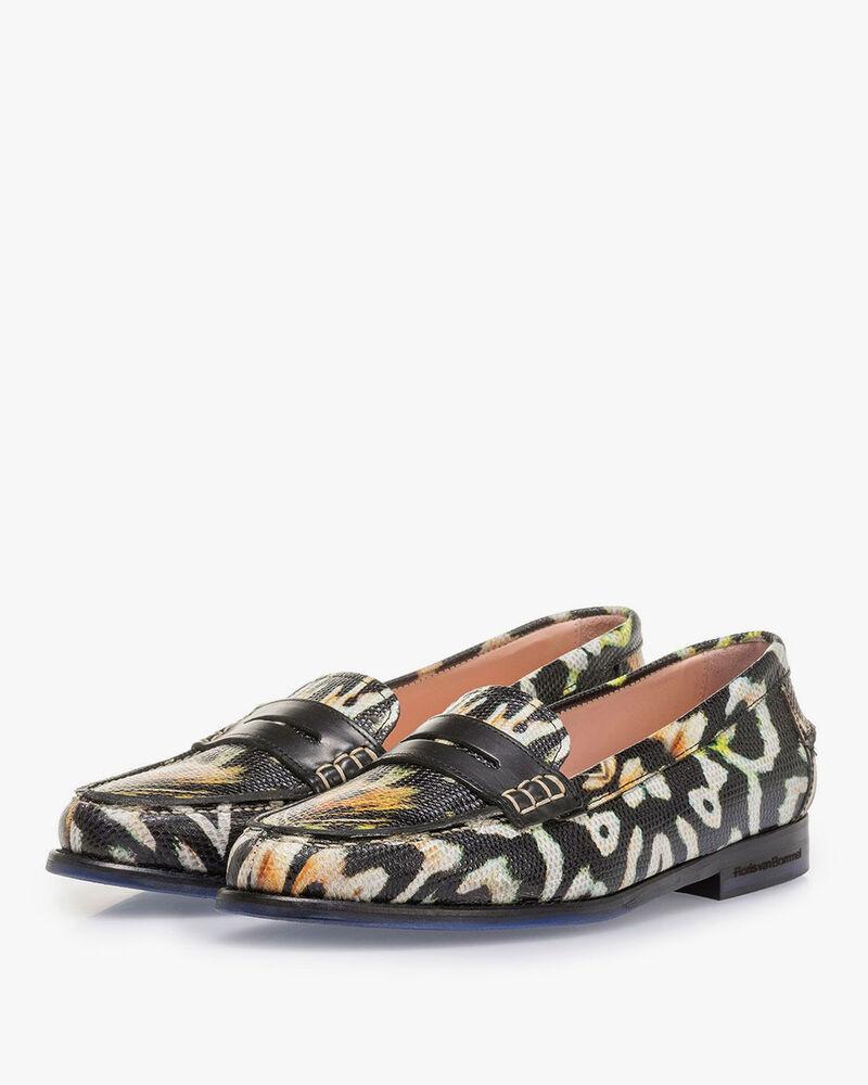 Zwarte leren loafer met oranje print