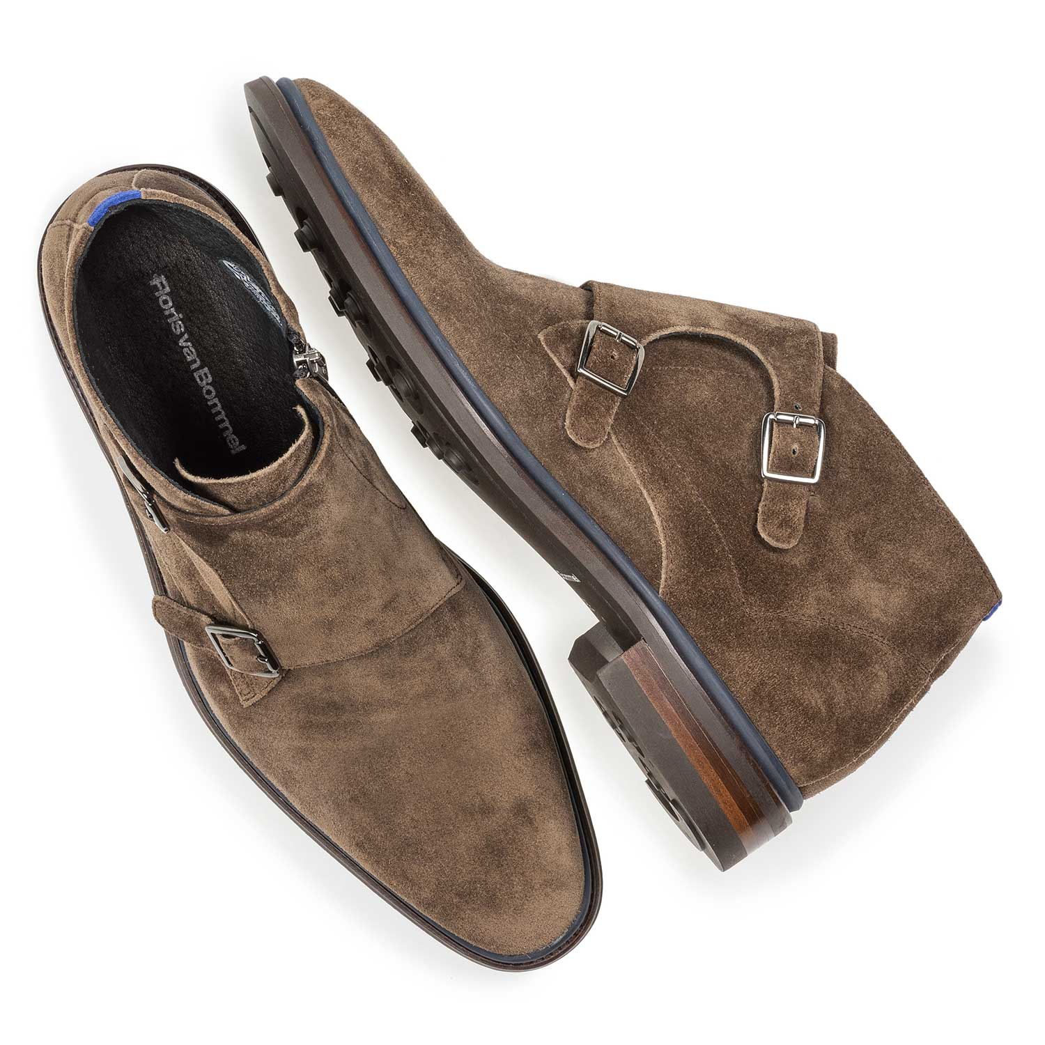 10672/02 - Dark taupe-coloured suede monk strap