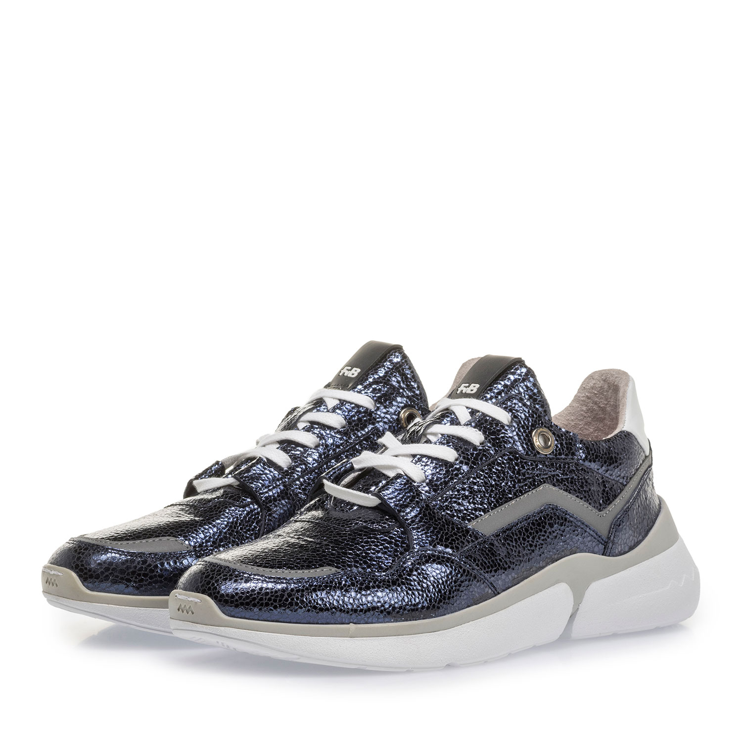 85291/17 - Dark blue leather sneaker with metallic print