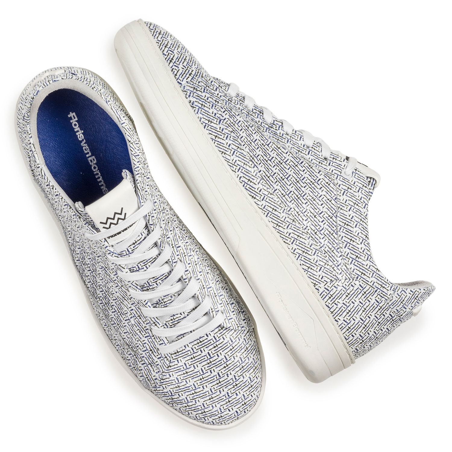 13265/01 - White leather sneaker with blue print