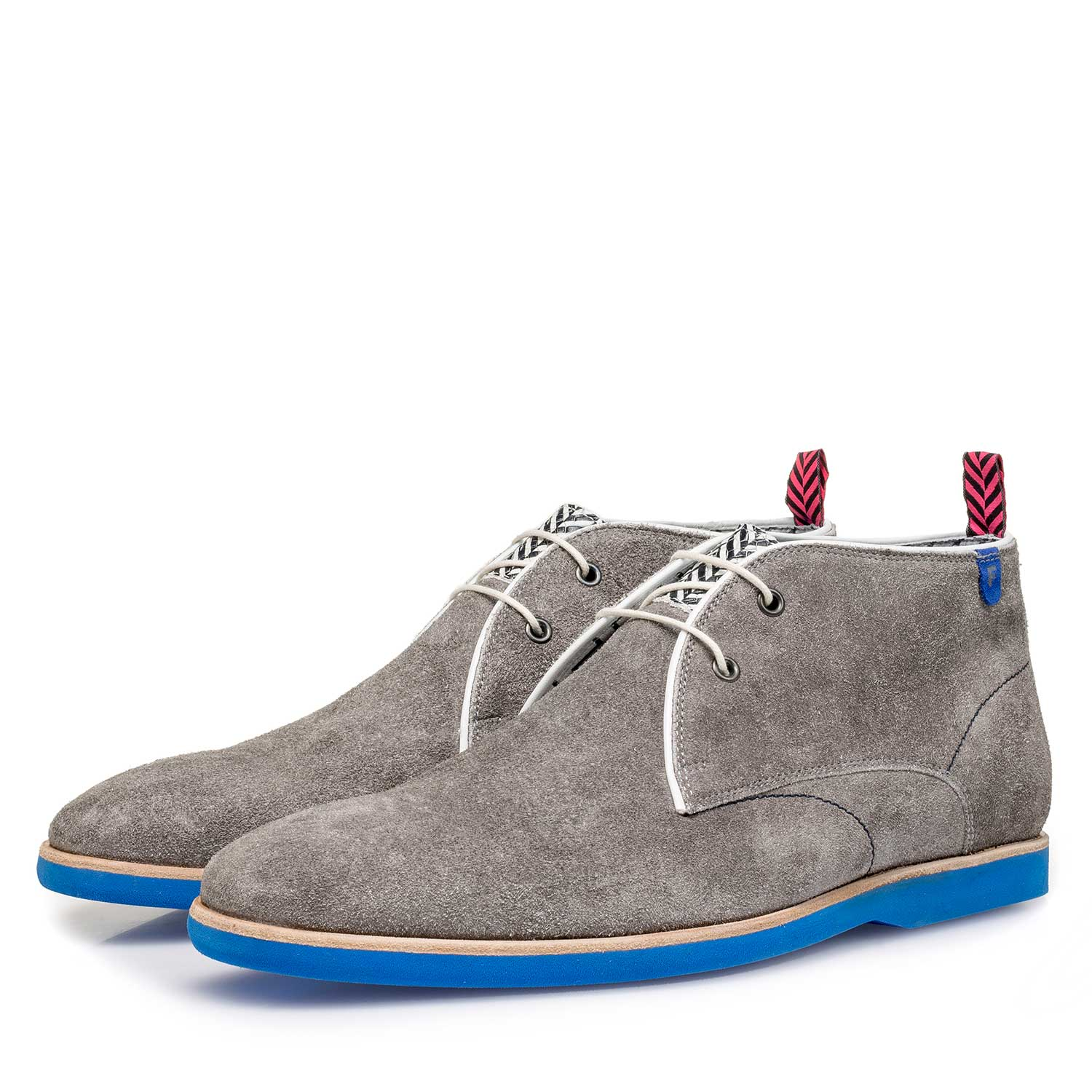 10014/03 - Grey rough suede leather lace boot
