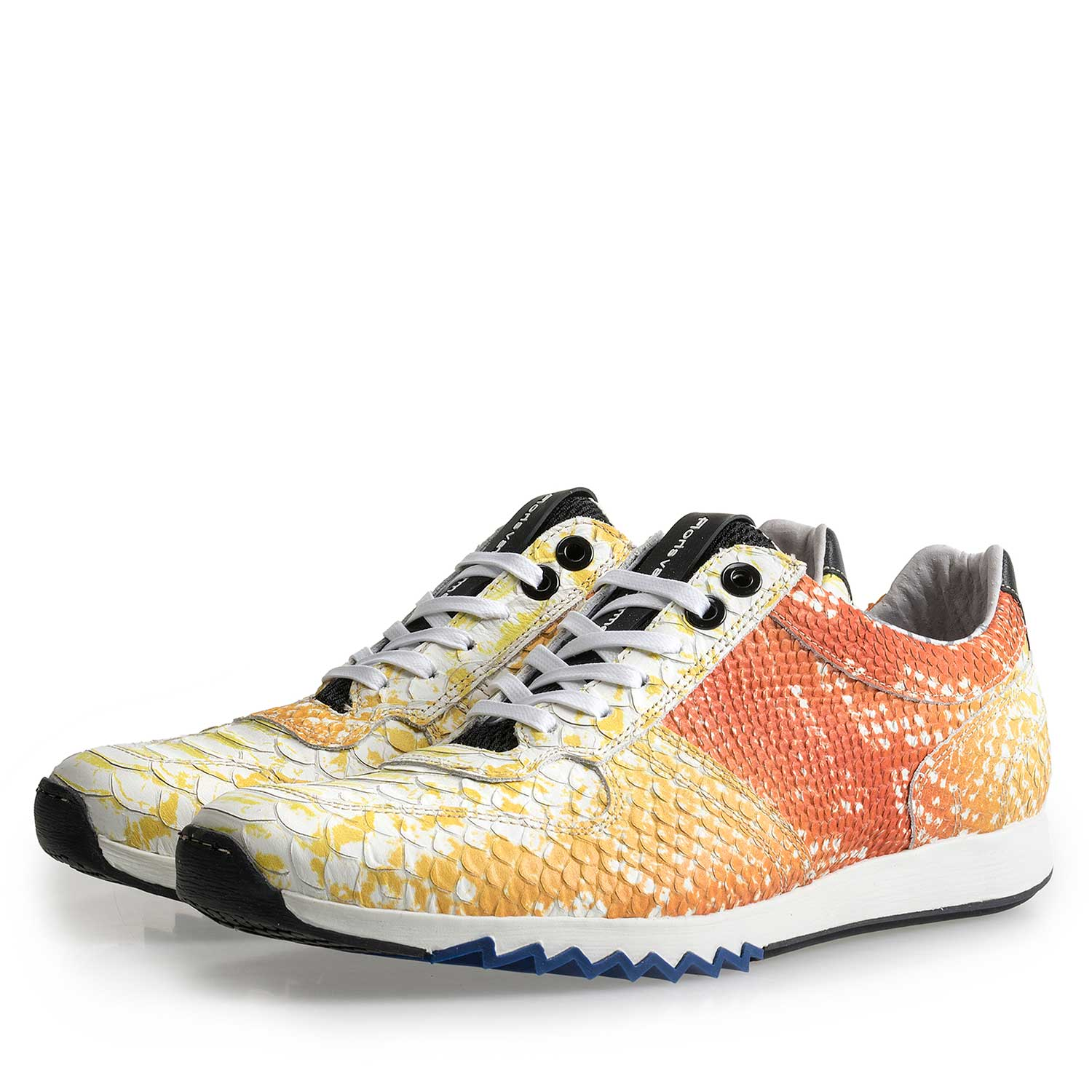 16227/12 - Yellow leather sneaker with a snake pattern