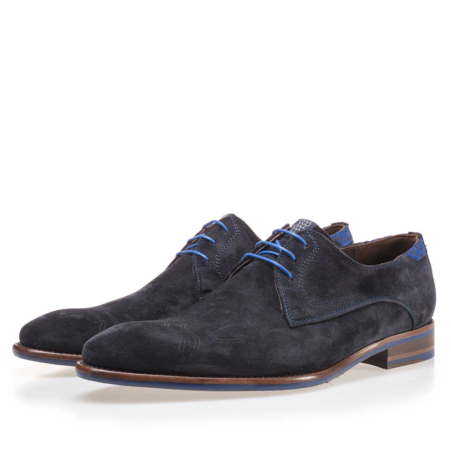 14092/03 - Dark blue suede leather lace shoe