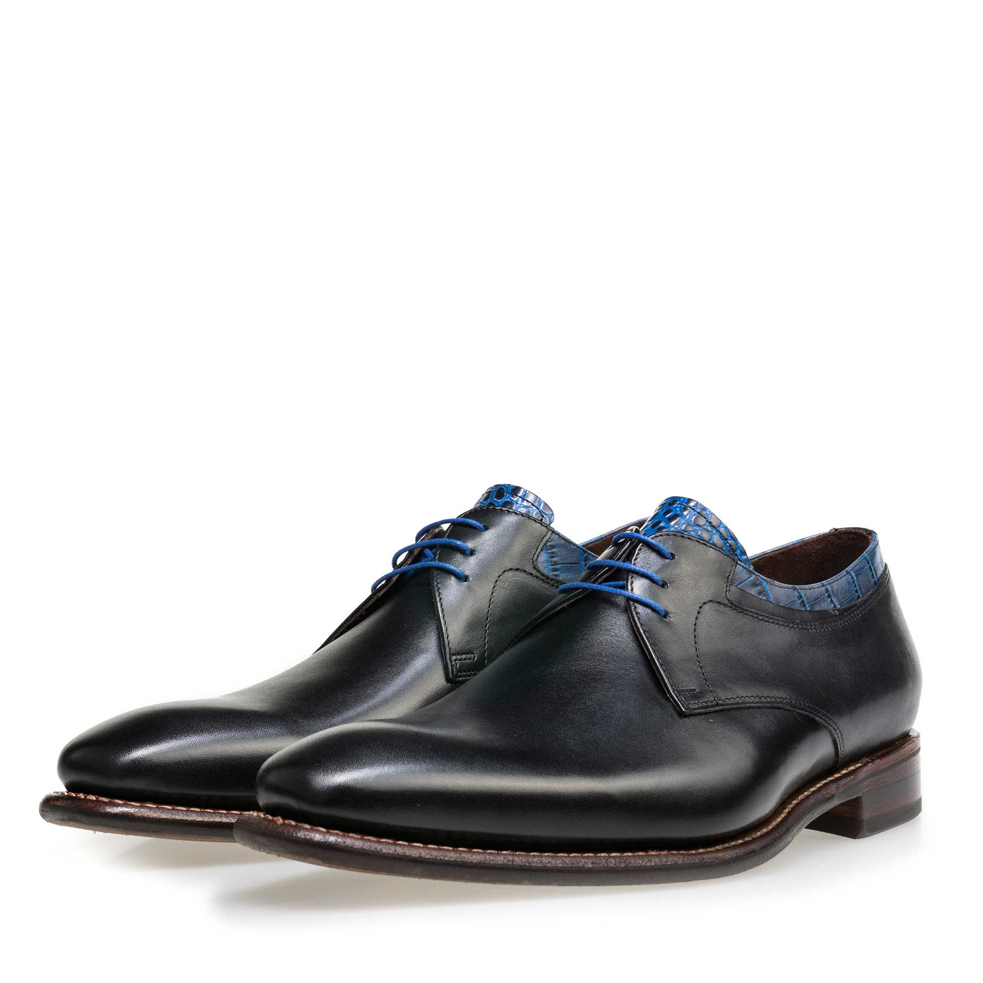 14302/02 - Floris van Bommel black leather men's lace-up shoe