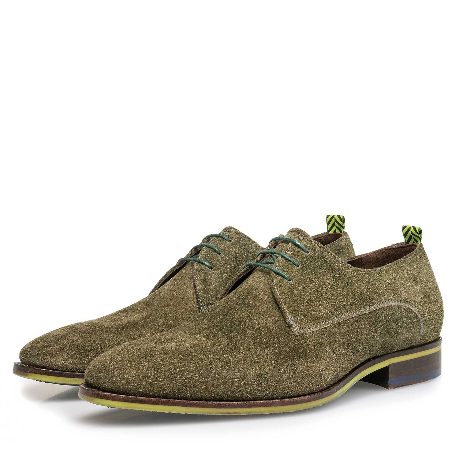 18092/02 - Green buffed suede leather lace shoe