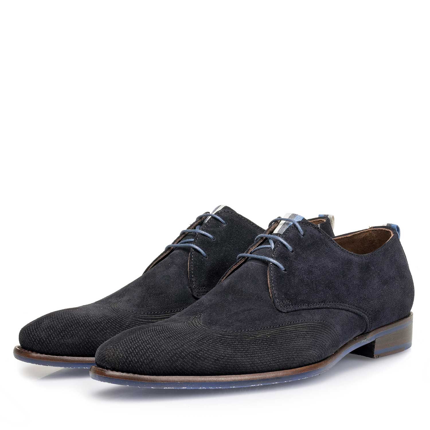 18082/03 - Dark blue suede leather lace shoe with a laser-cut pattern