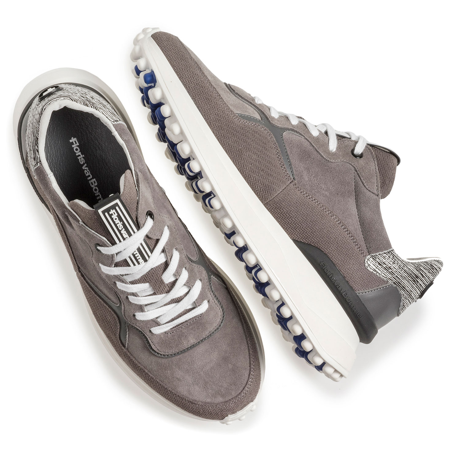 16301/16 - Grey suede leather sneaker with print