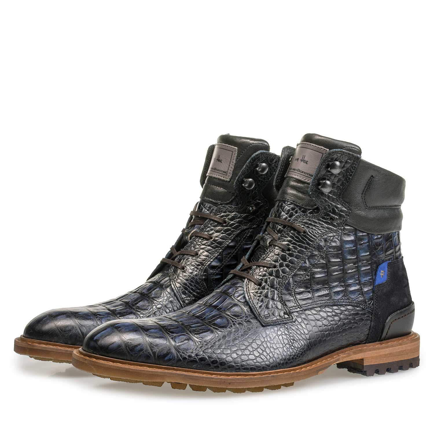 10234/13 - Blue calf leather lace boot with croco print