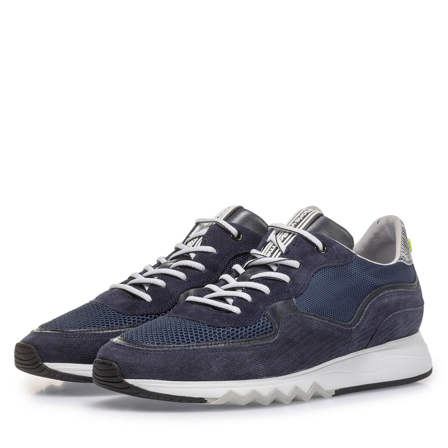 16093/19 - Dark blue suede leather sneaker with print