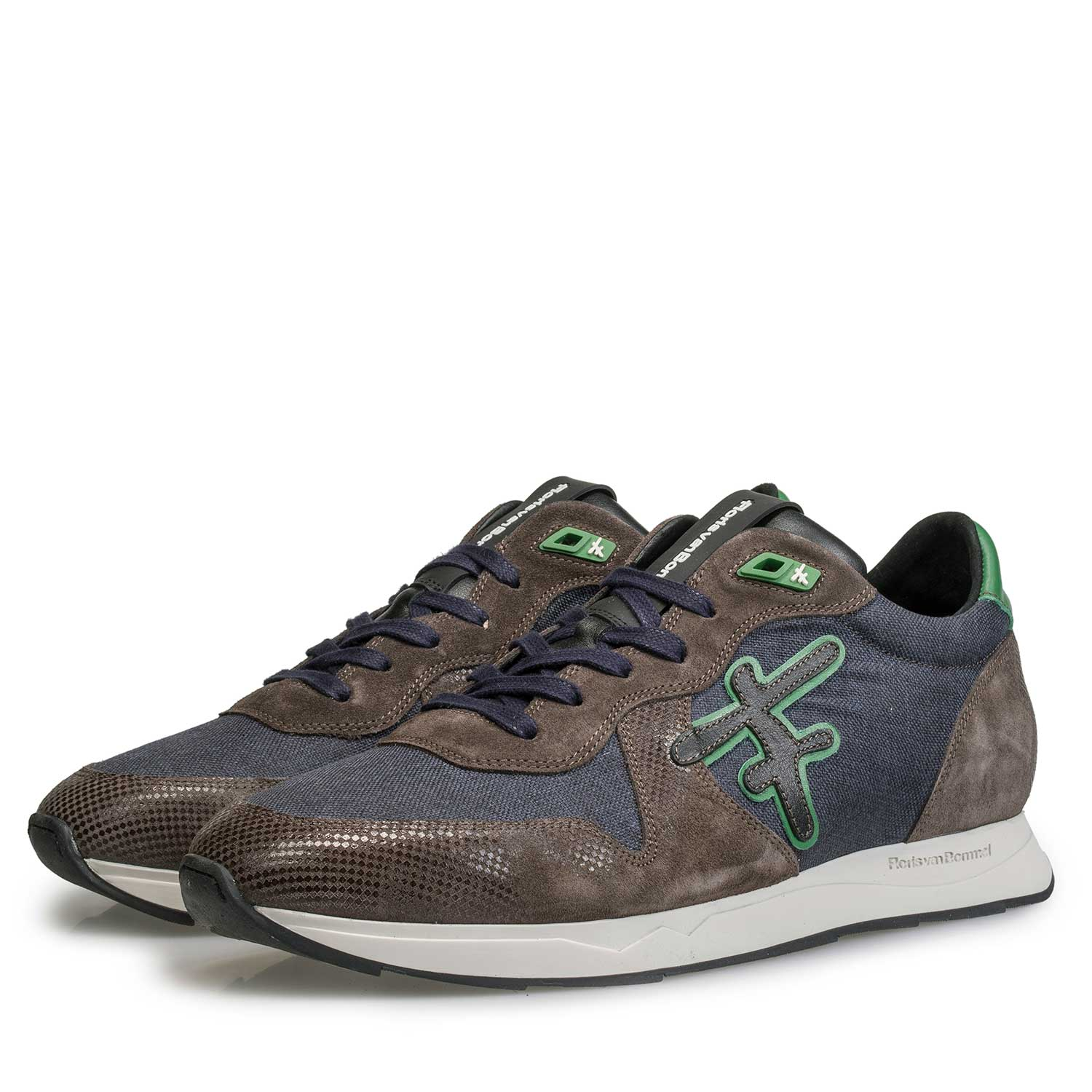 16226/03 - Blue/ Green canvas sneaker with green accents