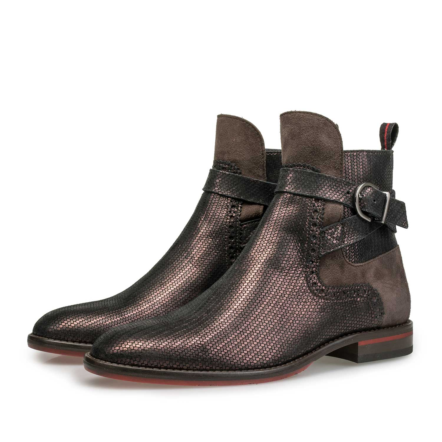85600/01 - Dark red leather Chelsea boot with metallic print