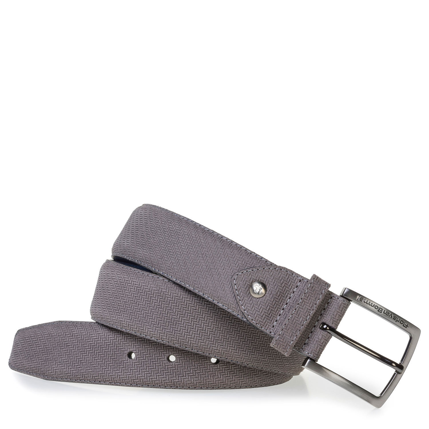 75202/47 - Grey suede leather belt with print