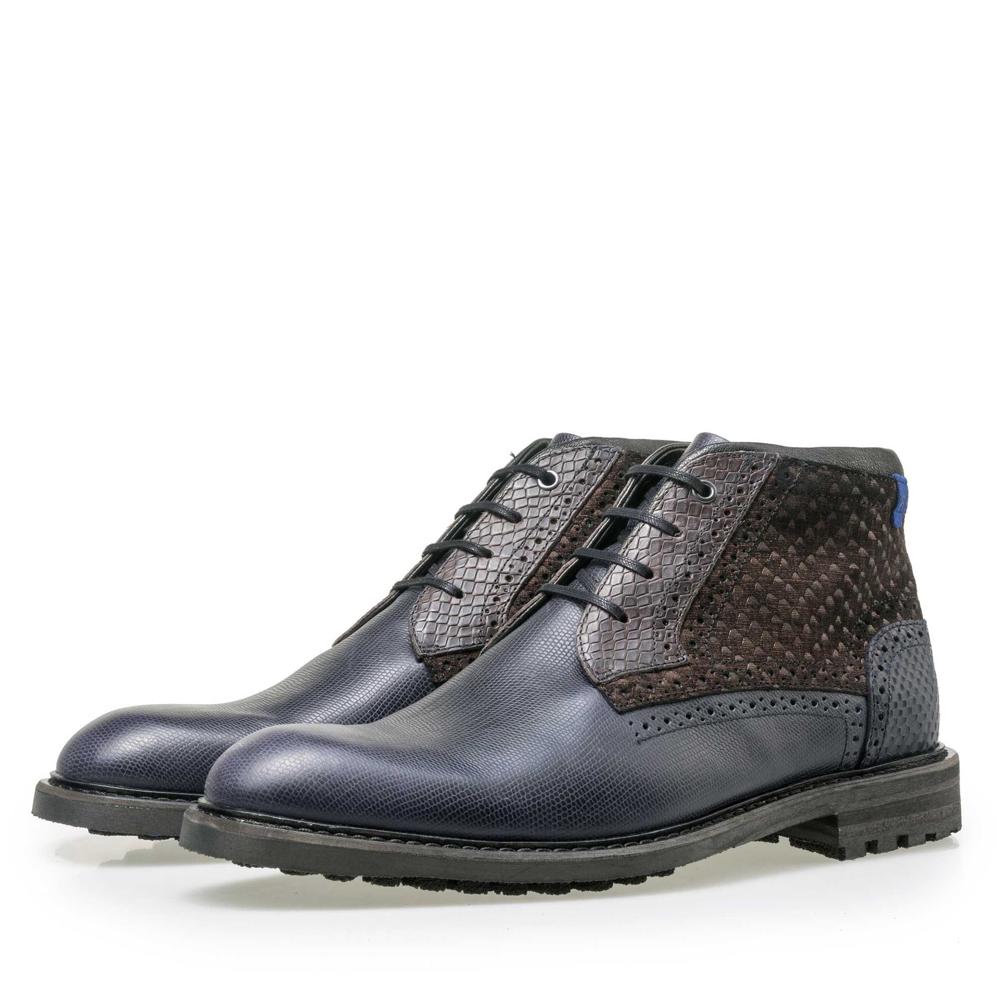 10978/02 - Floris van Bommel men's dark blue leather lace boot finished with a snake print