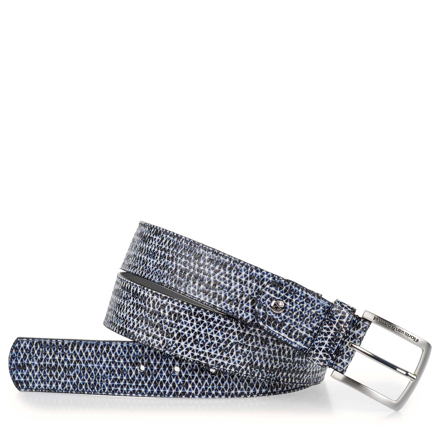75191/08 - Blue patterned calf's leather belt