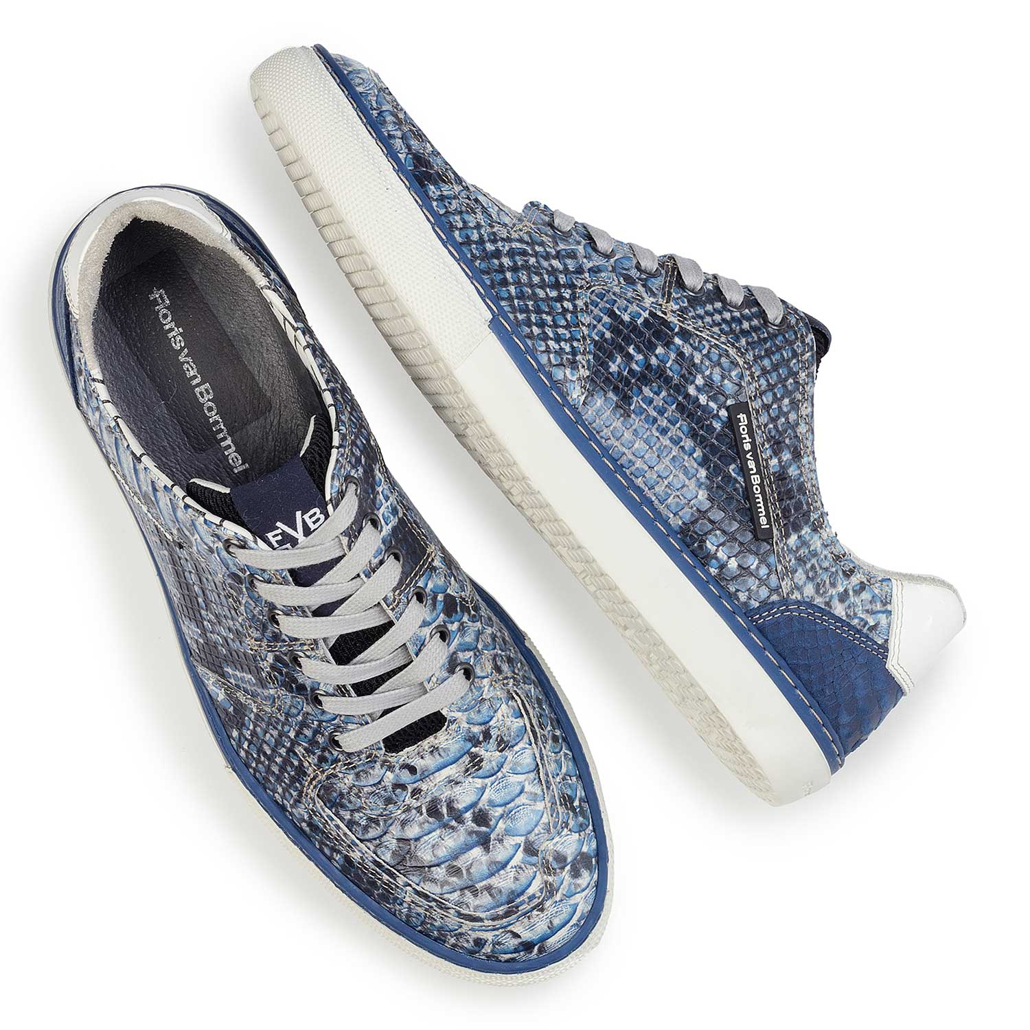 16252/02 - Blue leather lace shoe with a snake print