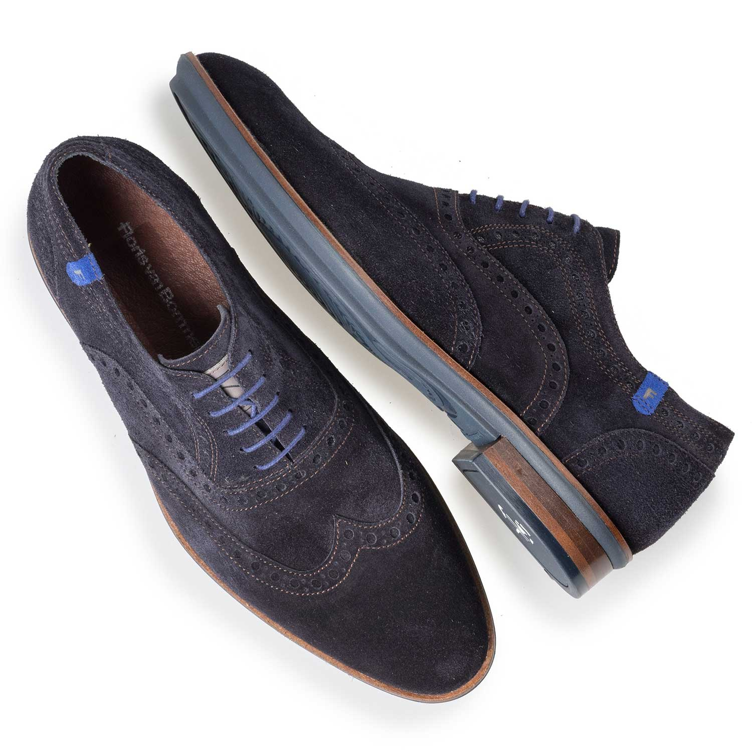 19048/03 - Blue brogue suede leather lace shoe