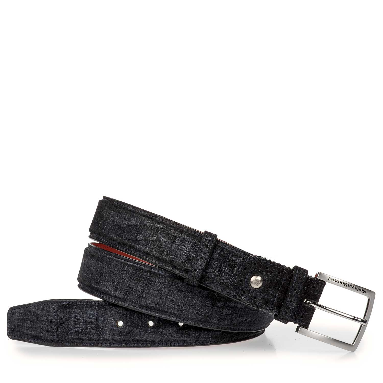 75171/17 - Blue suede leather belt with a check pattern