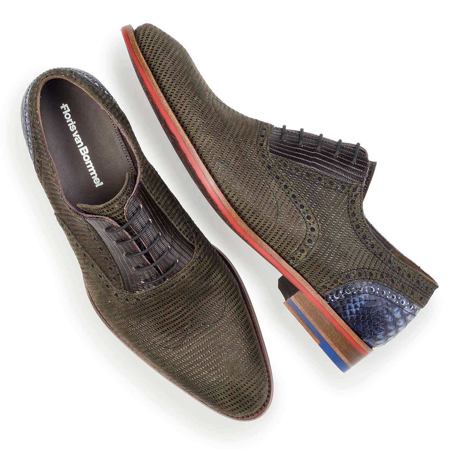 19114/08 - Olive green patterned suede leather lace shoe