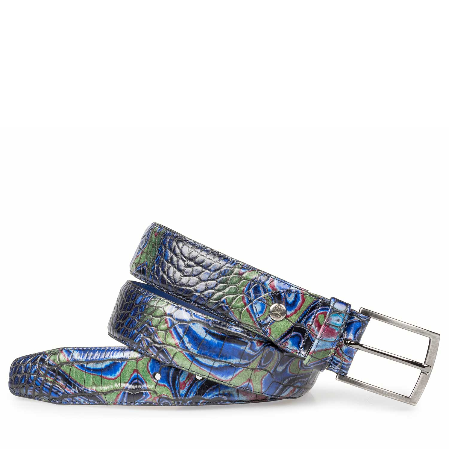 75190/32 - Blue Premium leather belt with croco print