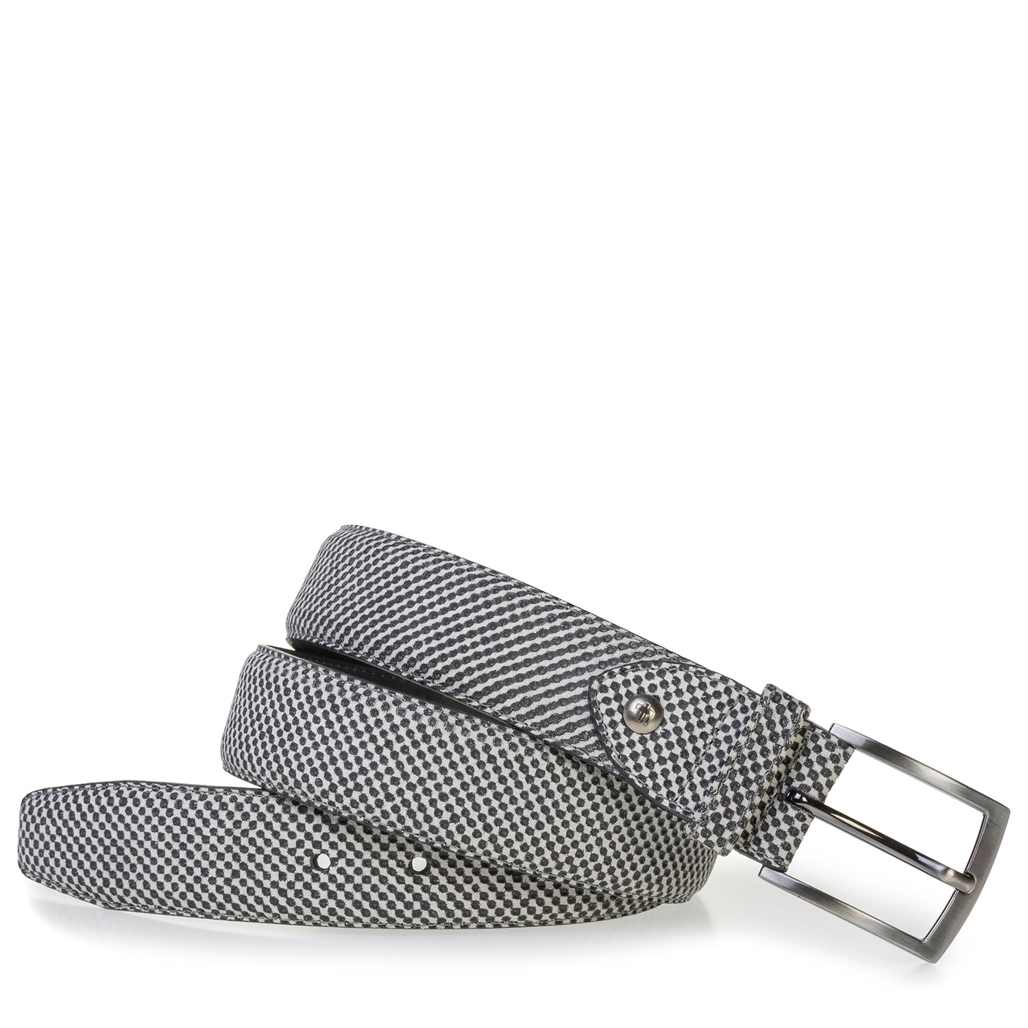75201/75 - Grey suede leather belt with print