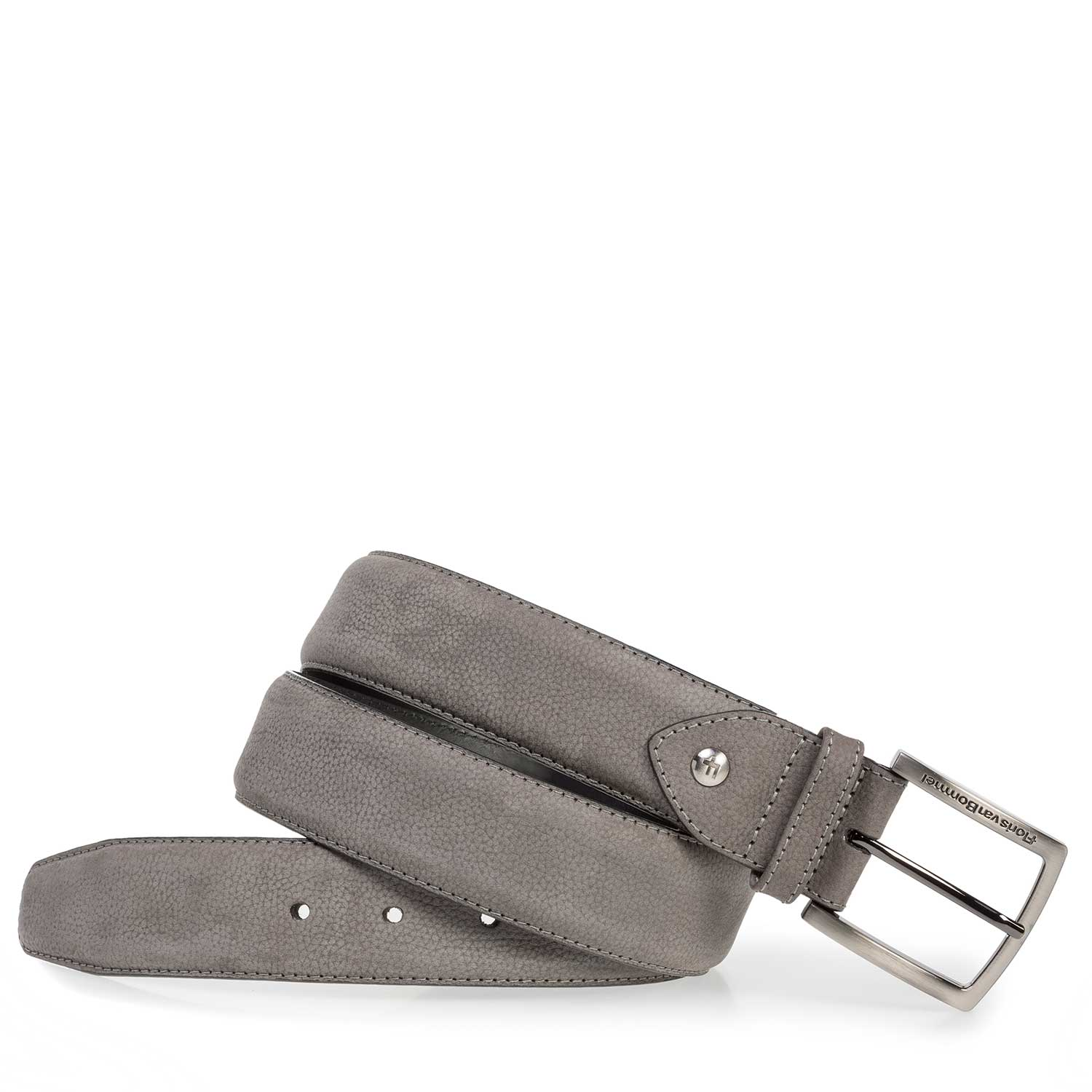75202/33 - Dark grey nubuck leather belt with structure