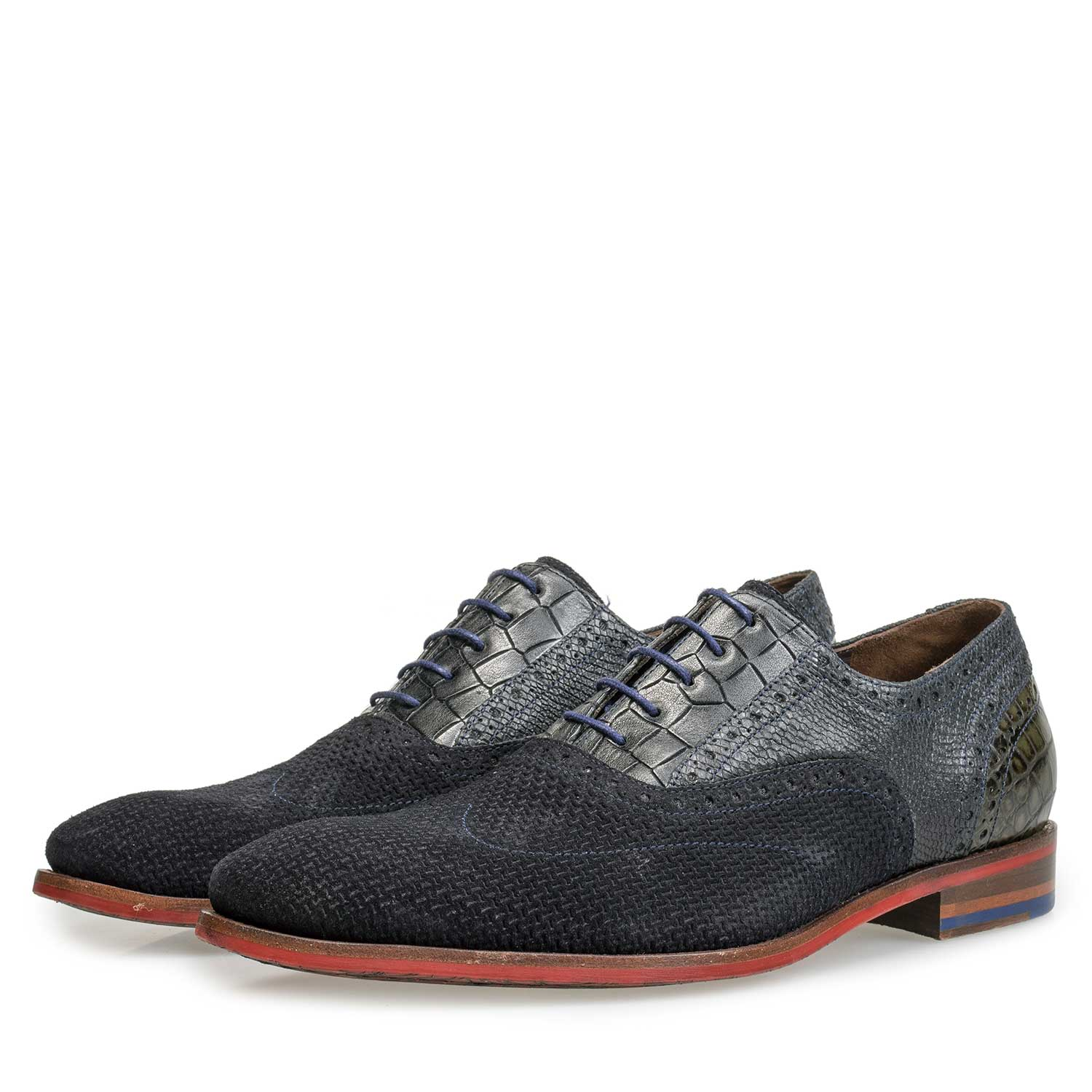 19114/28 - Blue calf's suede leather lace shoe with pattern