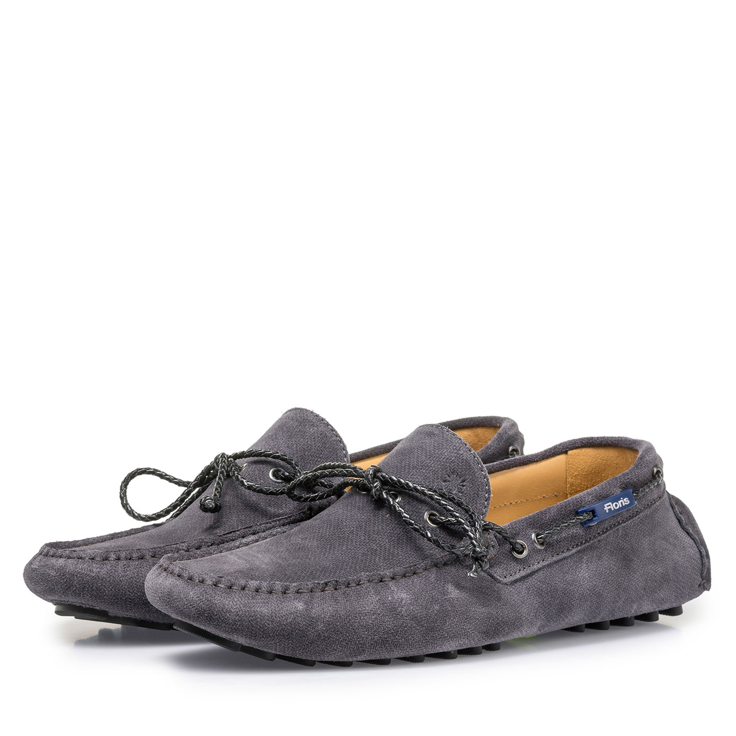 15214/10 - Dark grey suede leather moccasin with print