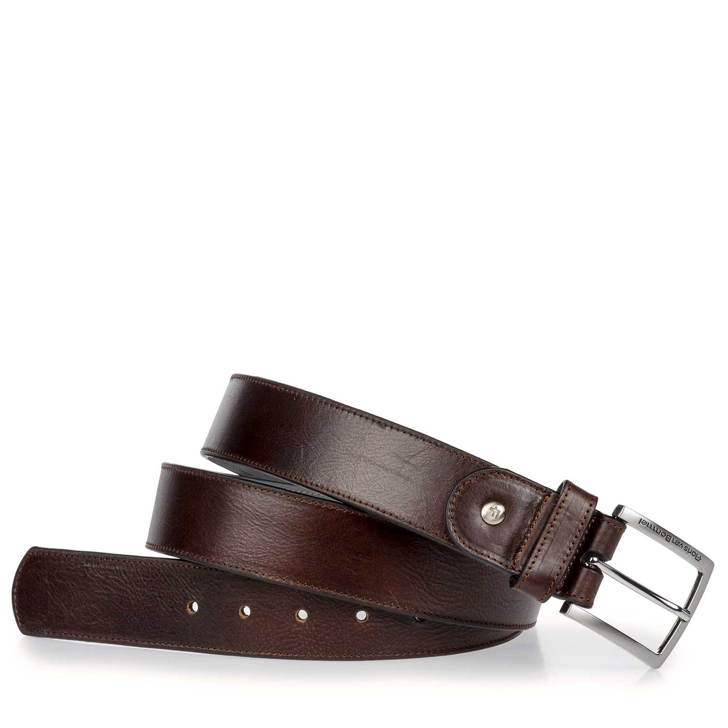 75166/02 - Dark brown calf's leather belt