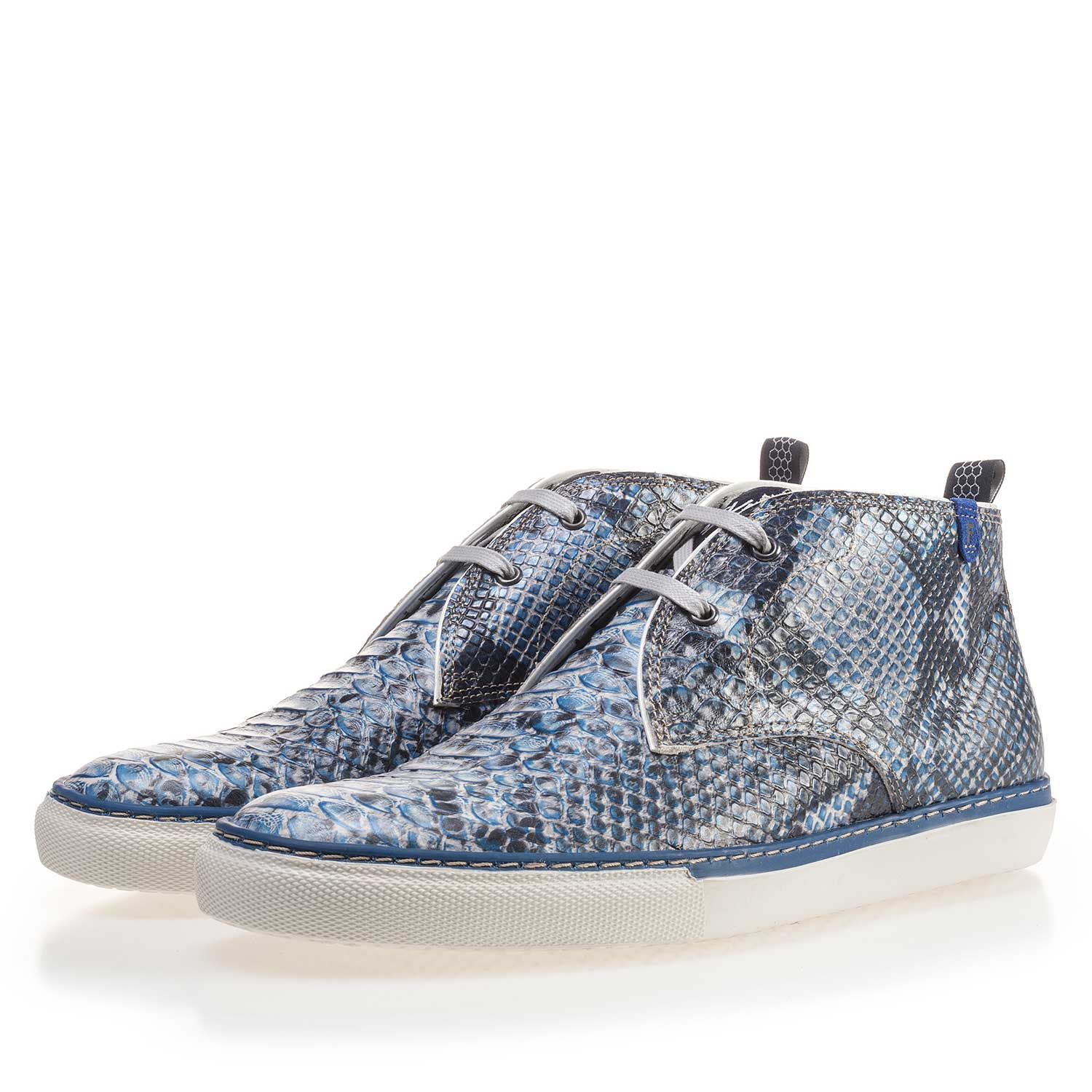 10024/02 - Blue calf's leather lace boot with a snake pattern